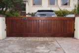 Solid Hardwood Sliding Entrance gate with Brass Plate Post Box.